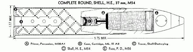 M54 37mm Cannon Shell